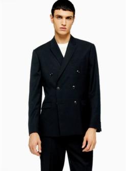 navy blauschmaler zweireihiger blazer mit strukturdesign navyblau navy blau