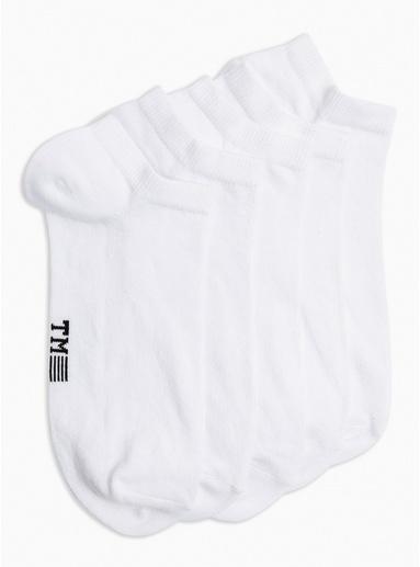Schlichte Sneaker-Socken im 5er-Pack, weiß, WEIß