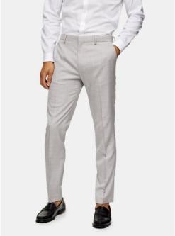 schmal geschnittene anzughose mit weitem beinschnitt grau grau