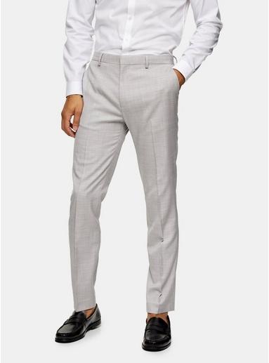 Schmal geschnittene Anzughose mit weitem Beinschnitt, grau, GRAU