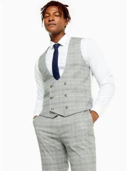 schmal geschnittene anzugweste mit karomuster grau grau