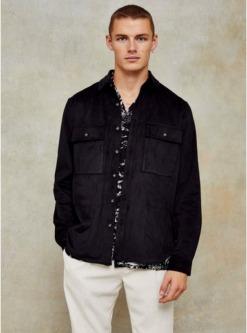 schmal geschnittenes hemd in wildlederoptik schwarz schwarz
