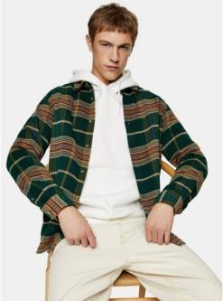 schmal geschnittenes hemd mit highlight karomuster gruen gruen