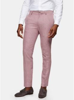 schmale anzughose aus waermendem stoff pink pink
