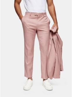 schmale anzughose pink pink