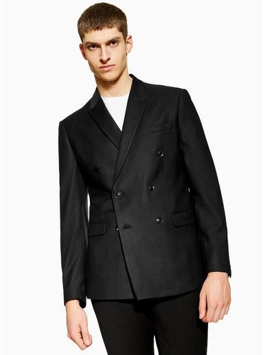 Schmaler, zweireihiger Blazer mit Strukturdesign, schwarz, SCHWARZ