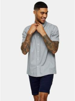 schmales considered hemd mit bambus print grau grau