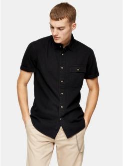 schmales hemd aus festem denim schwarz schwarz
