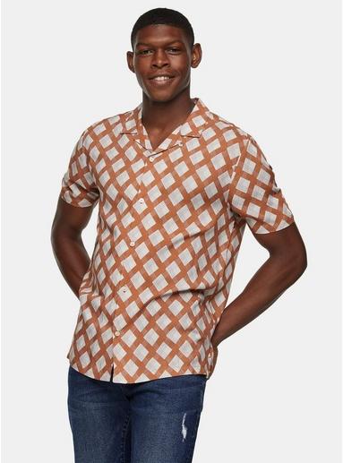 Schmales Hemd mit geometrischem Print, braun, BRAUN