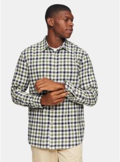 schmales hemd mit gingham karomuster khaki khaki