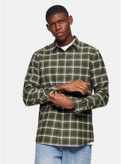 schmales hemd mit karomuster khaki khaki