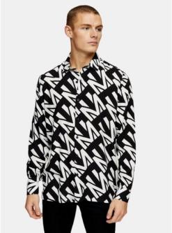 schmales hemd mit langen aermeln schwarz und weiss schwarz
