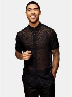 schmales jacquard hemd mit geometrischem design schwarz schwarz