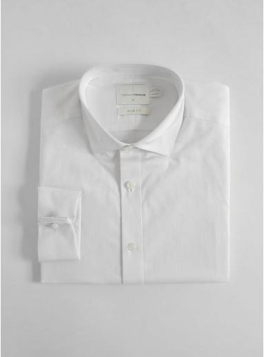 Schmales Premium-Hemd mit Doppelmanschetten, weiß, WEIß