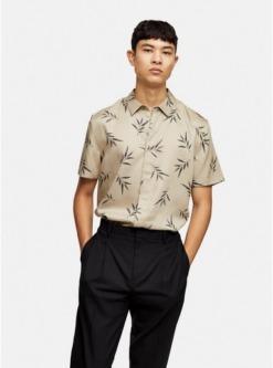 schmales premium hemd mit weiden print grau grau