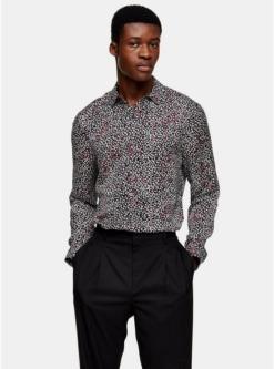 schmales premium hemd schwarz weiss und rot schwarz