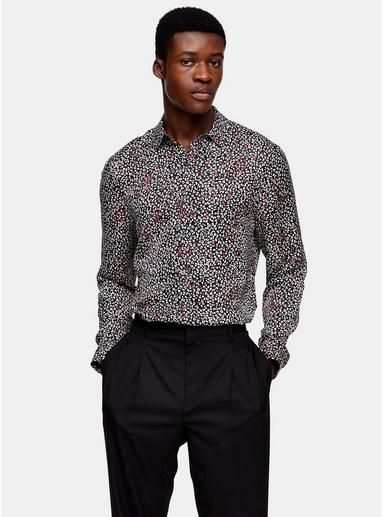 Schmales Premium-Hemd, schwarz, weiß und rot, SCHWARZ
