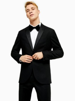 schwarzblack skinny fit single breasted tuxedo suit blazer with satin covered shawl lapel schwarz