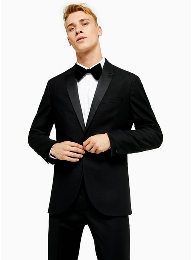 SCHWARZBlack Skinny Fit Single Breasted Tuxedo Suit Blazer with Satin Covered Shawl Lapel, SCHWARZ