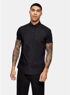 schwarzes elegantes hemd mit kurzen aermeln schwarz