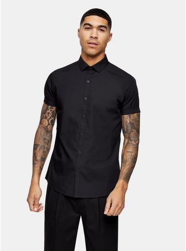 Schwarzes, elegantes Hemd mit kurzen Ärmeln, SCHWARZ