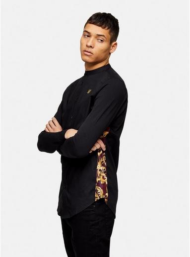 SIKSILK schmales Hemd mit Grandad-Kragen, schwarz, SCHWARZ