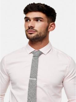 strukturierte krawatte mit clip grau grau