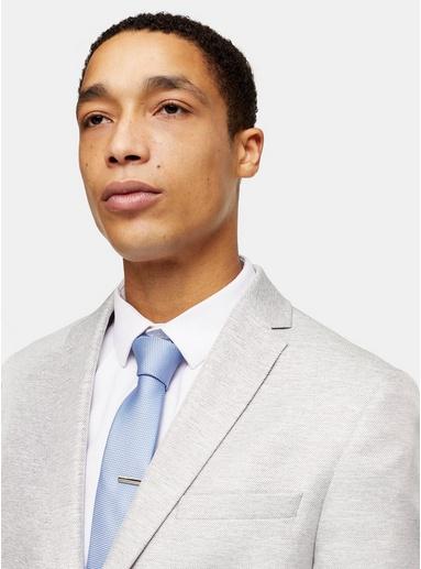 Strukturierte Krawatte mit Clip, hellblau, BLAU