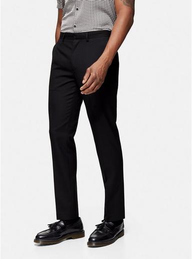 Strukturierte, schmale Anzughose, schwarz, SCHWARZ