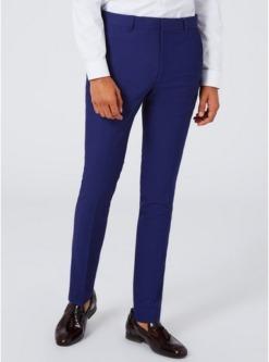 superenge strukturierte twill anzughose tiefblau blau