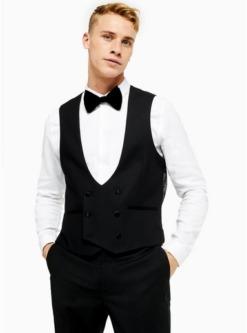 zweireihige anzugweste schwarz schwarz