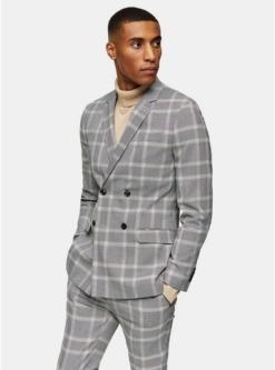zweireihiger blazer mit spitzem revers und karomuster grau grau
