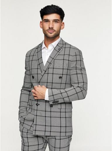 zweireihiger enger anzug mit grossem karomuster schwarz schwarz